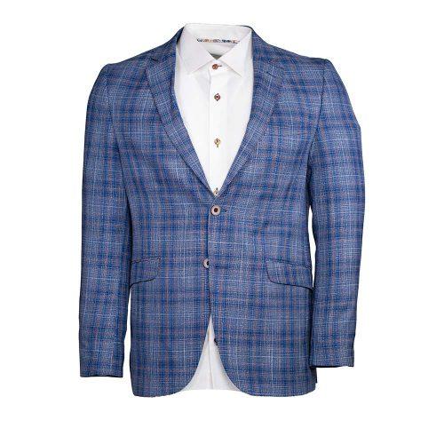 Blue with orange plaid blazer