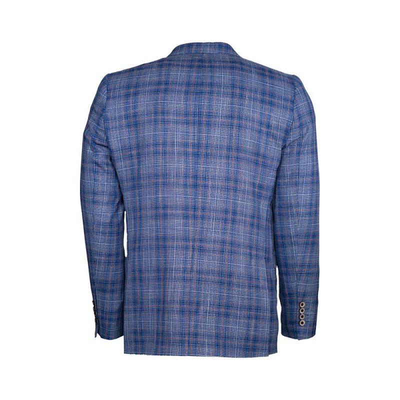 Blue with orange plaid blazer back view