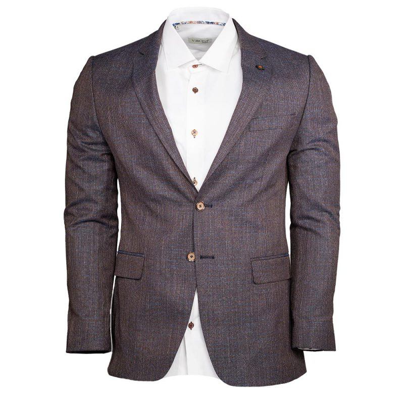 Brown blazer with blue weaved pattern