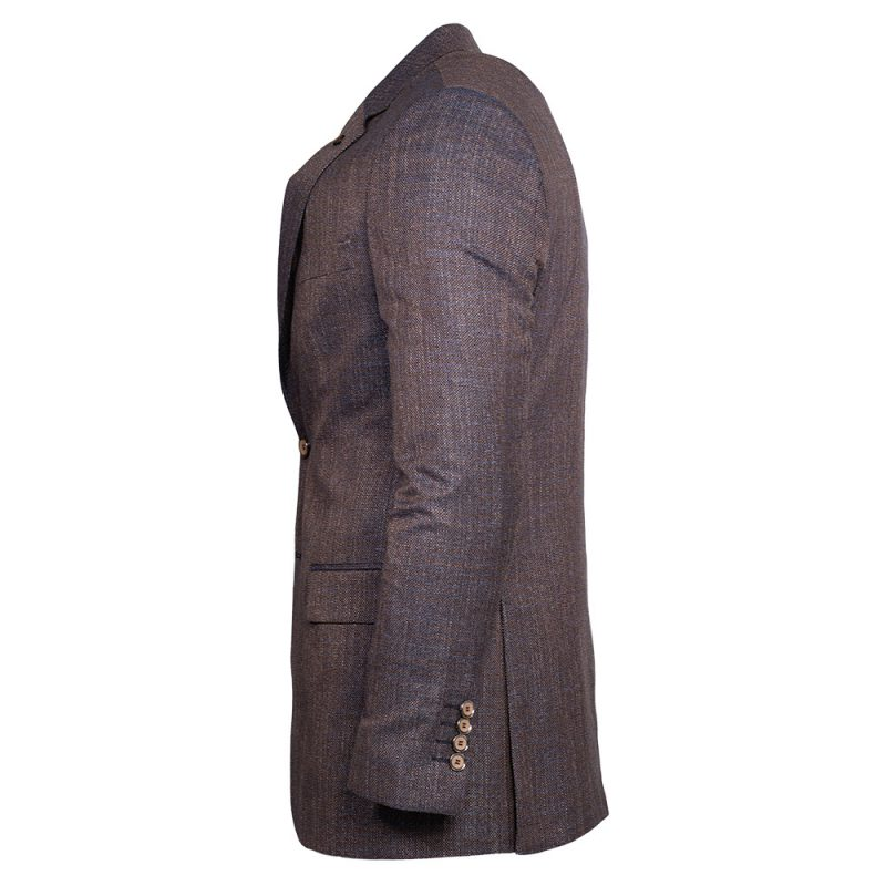 Brown blazer with blue weaved pattern side view