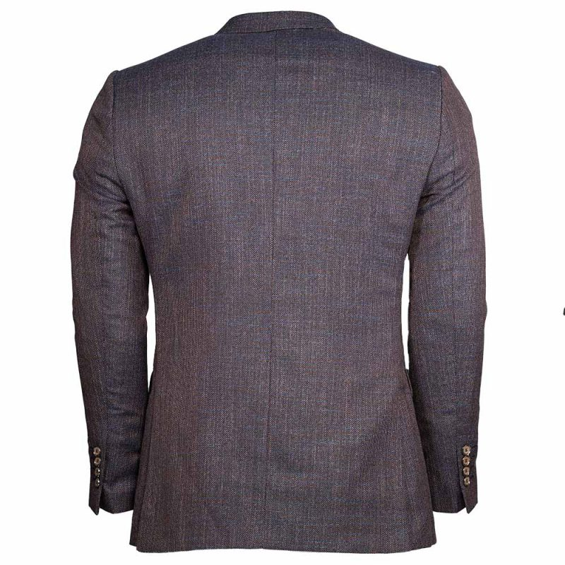 Brown blazer with blue weaved pattern back view
