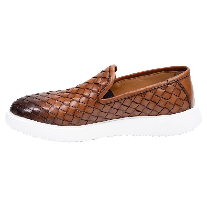 Brown casual leather slip on with a white sole
