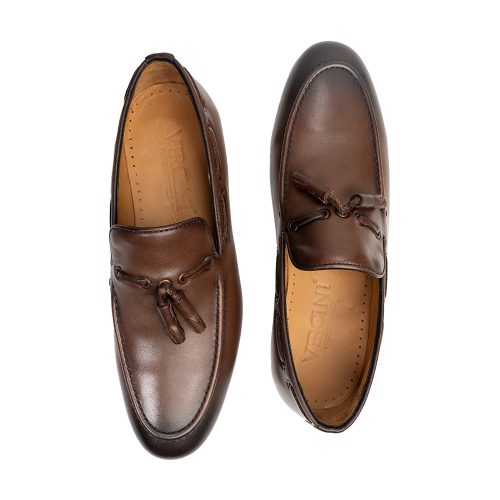 Brown leather slip on with tassels