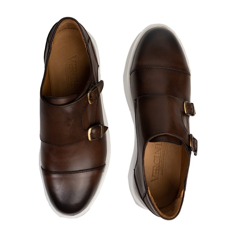 Brown monk strap leather casual shoe