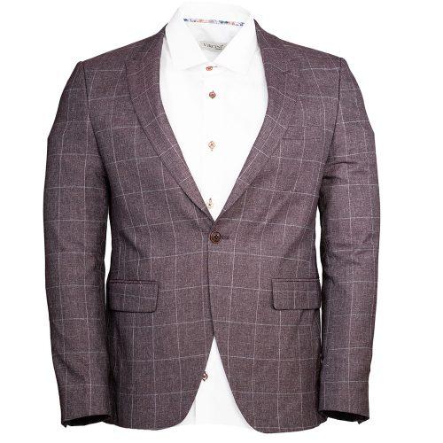 Burgundy blazer with a light gray window pane