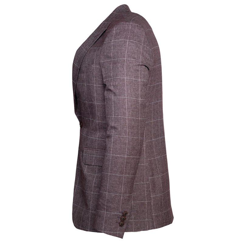 Burgundy blazer with a light gray window pane side view