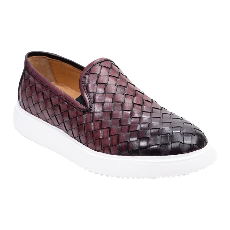 Burgundy casual leather slip on with a white sole