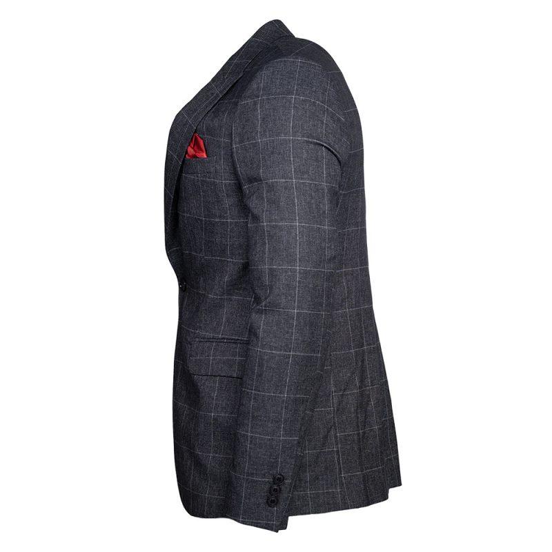 Gray blazer with a light gray window pane side view