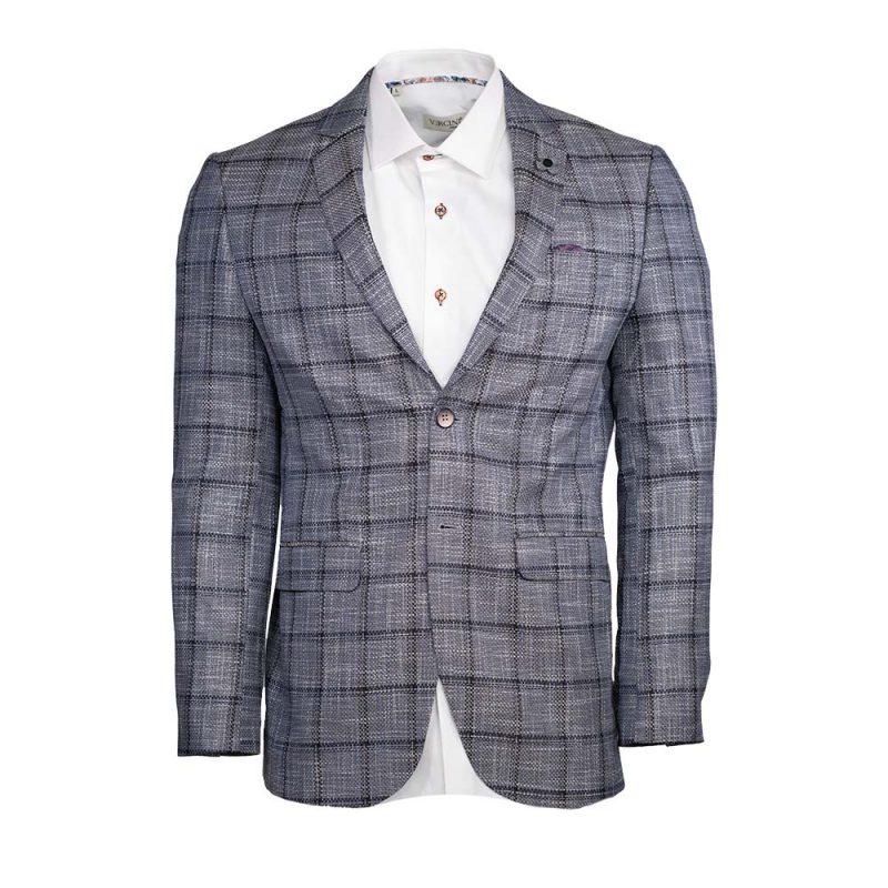 Gray mens sport coat with black window pane pattern