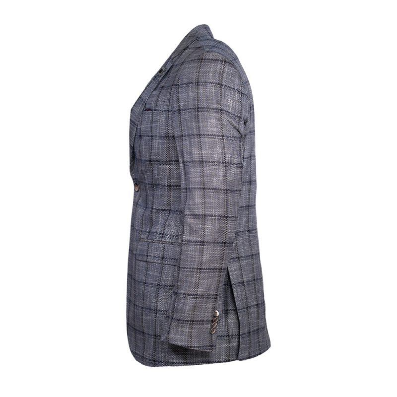 Gray mens sport coat with black window pane pattern side view