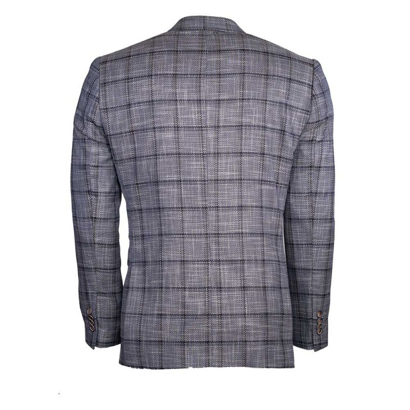 Gray mens sport coat with black window pane pattern back view