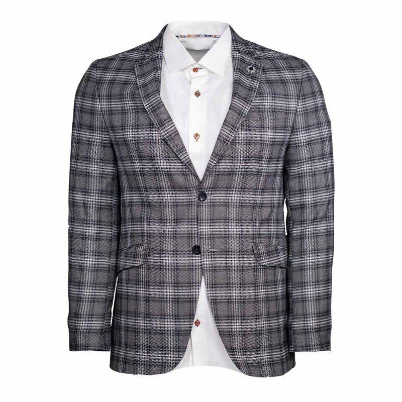 Gray mens blazer with light purple plaid pattern