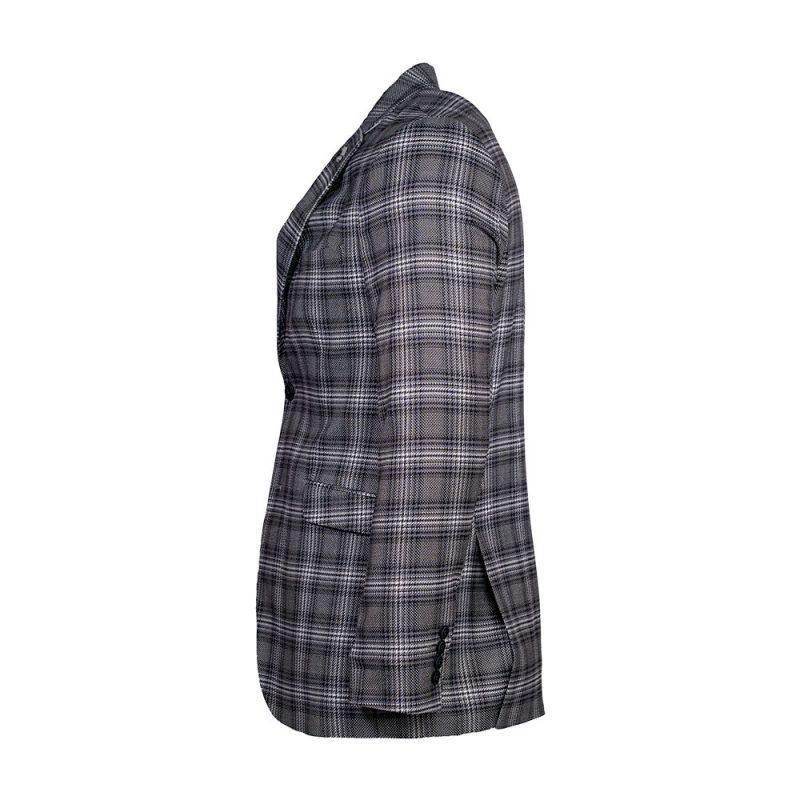 Gray mens blazer with light purple plaid pattern side view