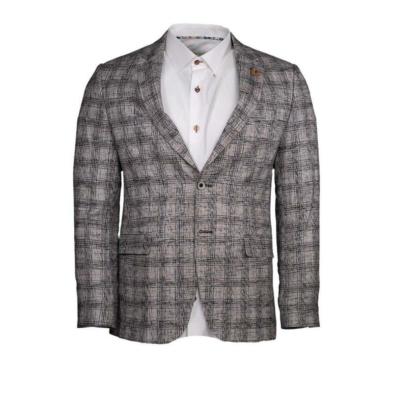 Gray plaid slim fit Blazer