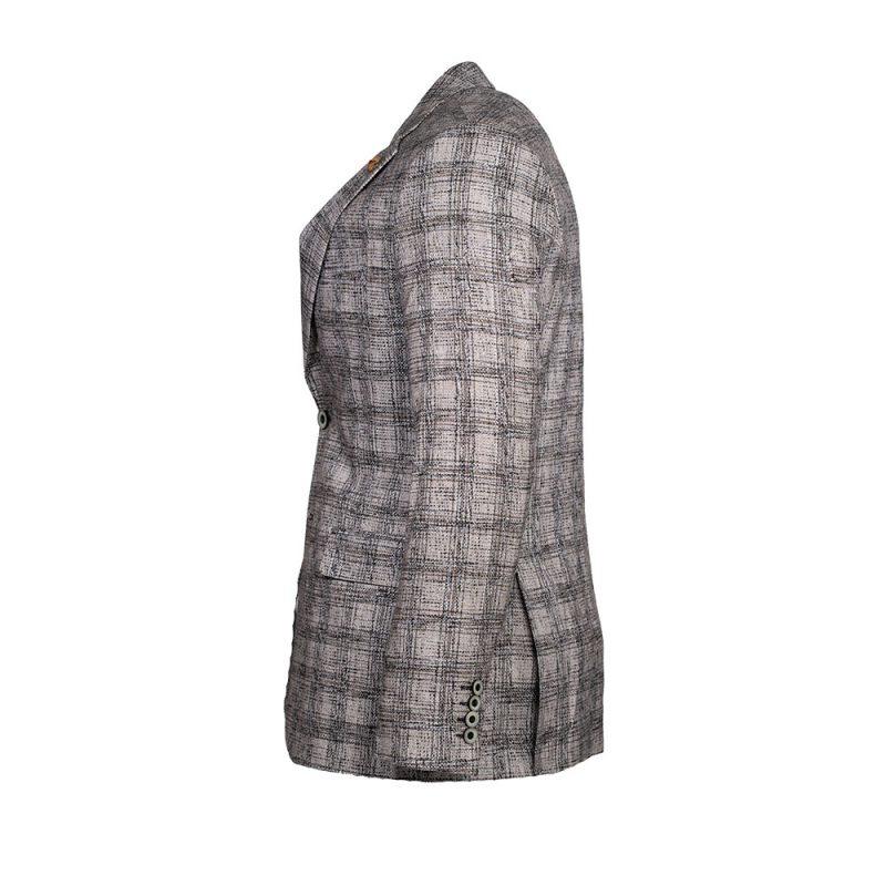 Gray plaid slim fit Blazer side view