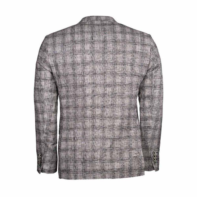 Gray plaid slim fit Blazer back view