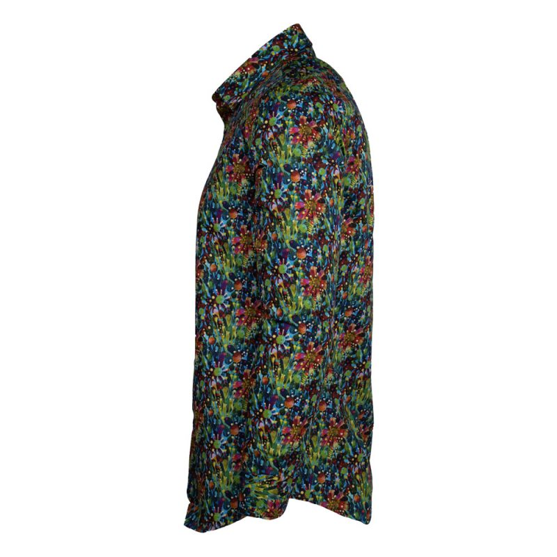 Green dress shirt with a floral design side view
