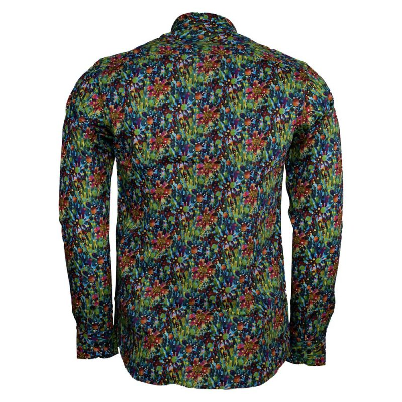 Green dress shirt with a floral design back view