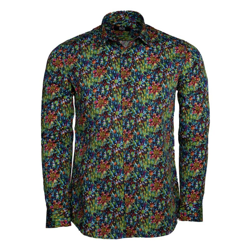 Green dress shirt with a floral design