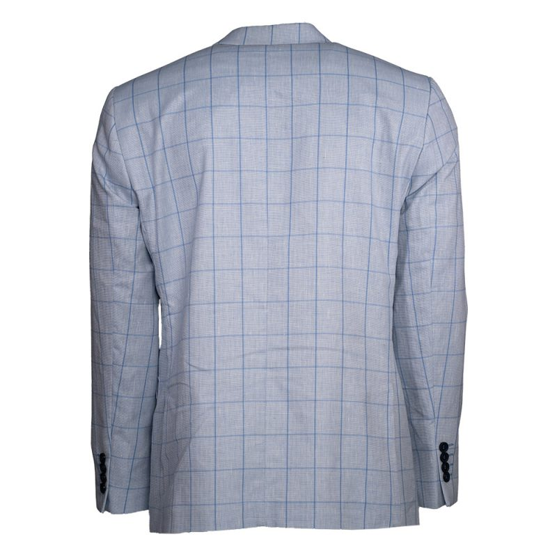Light blue blazer with blue window pane blazer back view