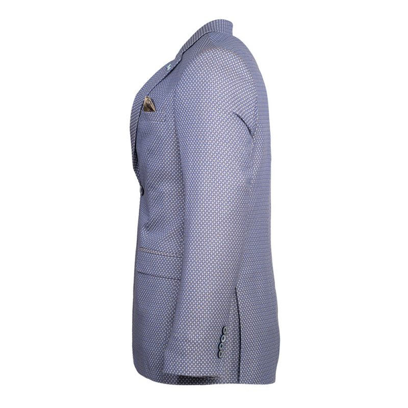 Light blue with brown pattern blazer side view