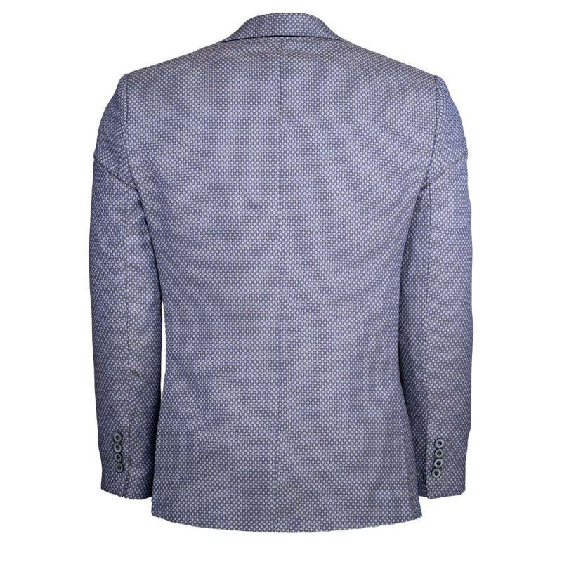 Light blue with brown pattern blazer back view