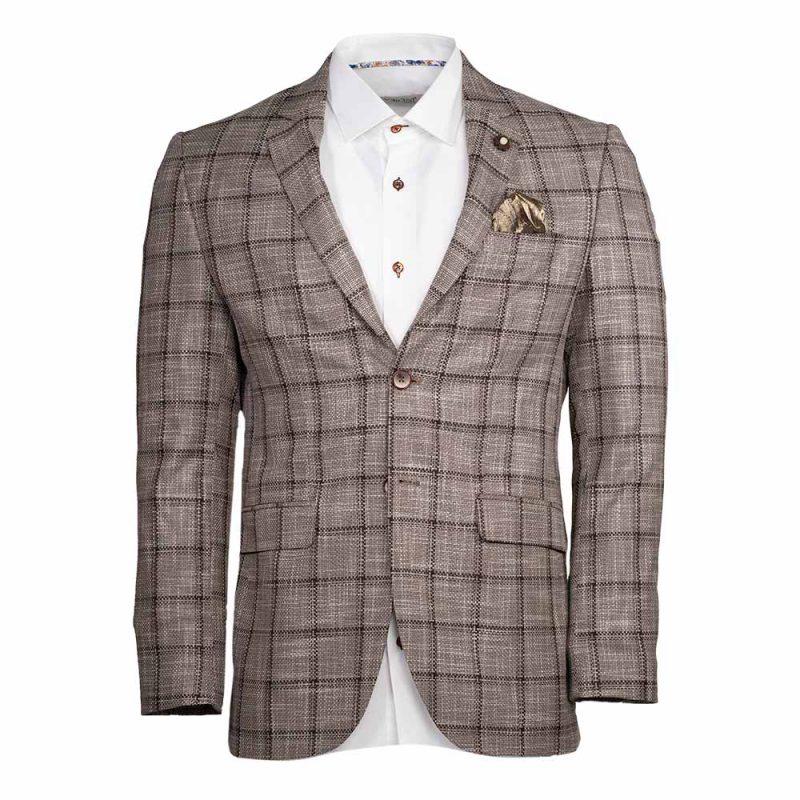 Light brown blazer with a dark brown plaid pattern