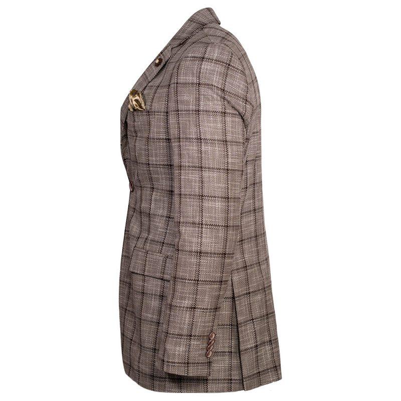 Light brown blazer with a dark brown plaid pattern side view