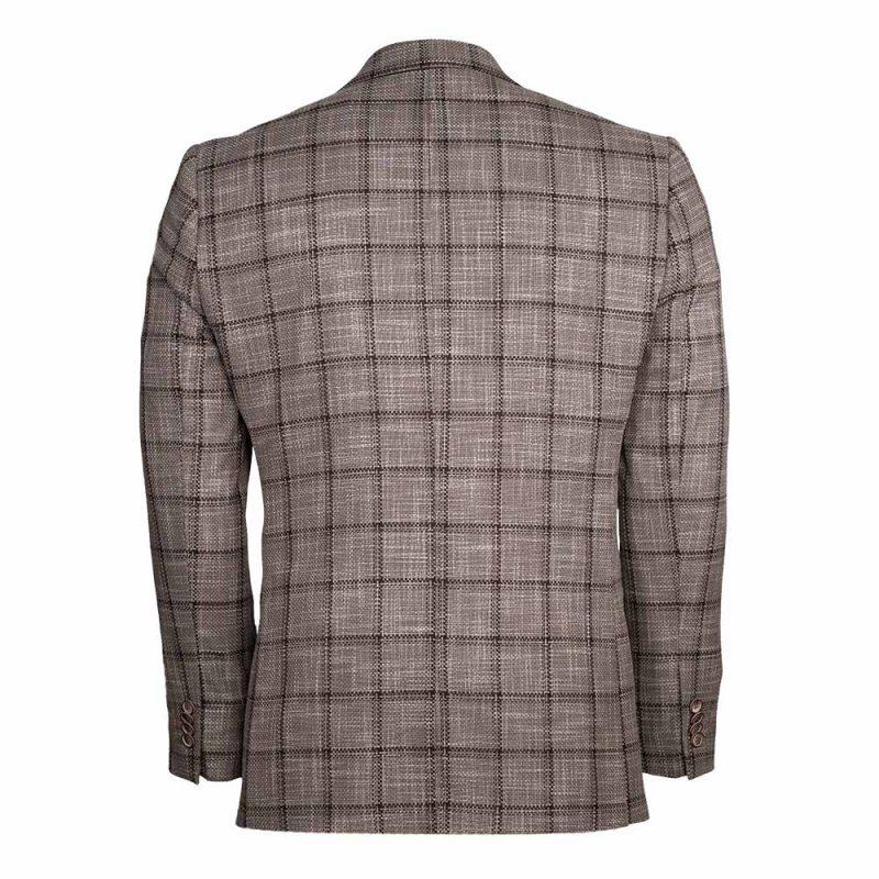 Light brown blazer with a dark brown plaid pattern back view
