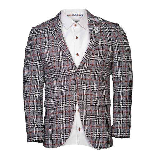 Light gray blazer with red and black plaid