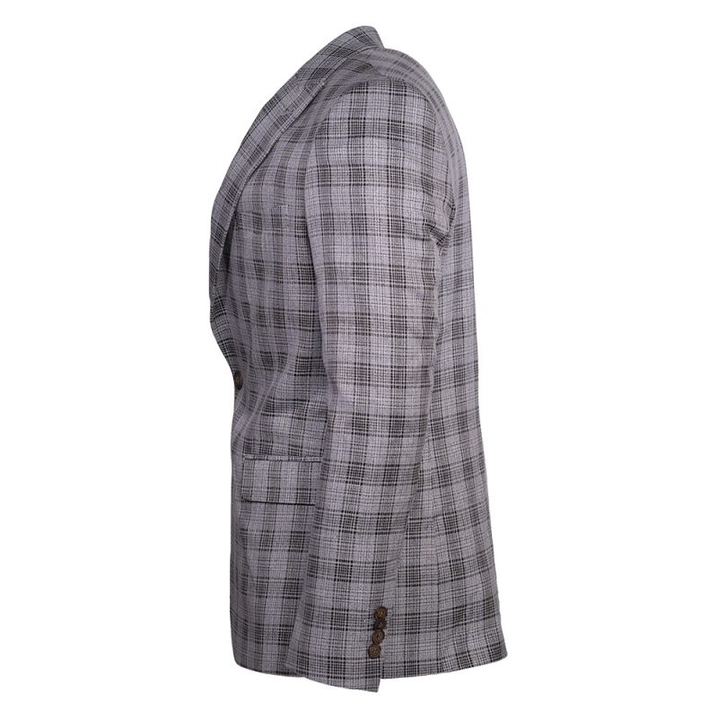 Light gray with a dark plaid pattern side view