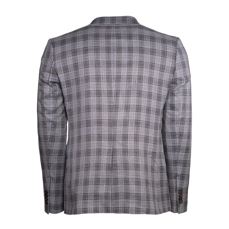 Light gray with a dark plaid pattern back view