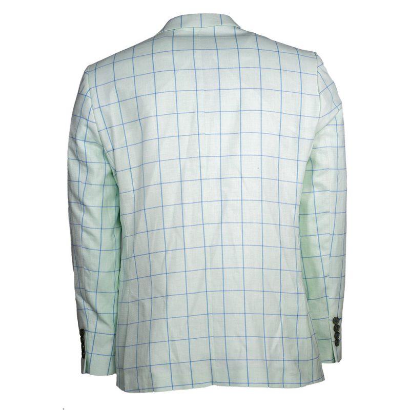 Light green mint color window pane blazer back view