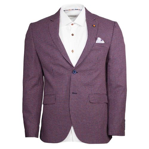 Light purple blazer with blue houndstooth pattern