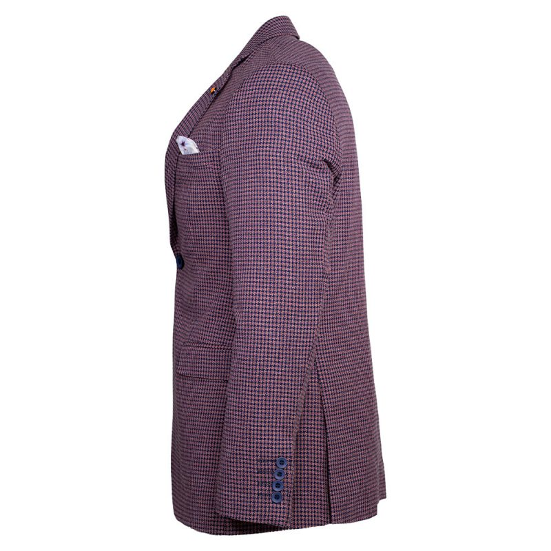 Light purple blazer with blue houndstooth pattern side view