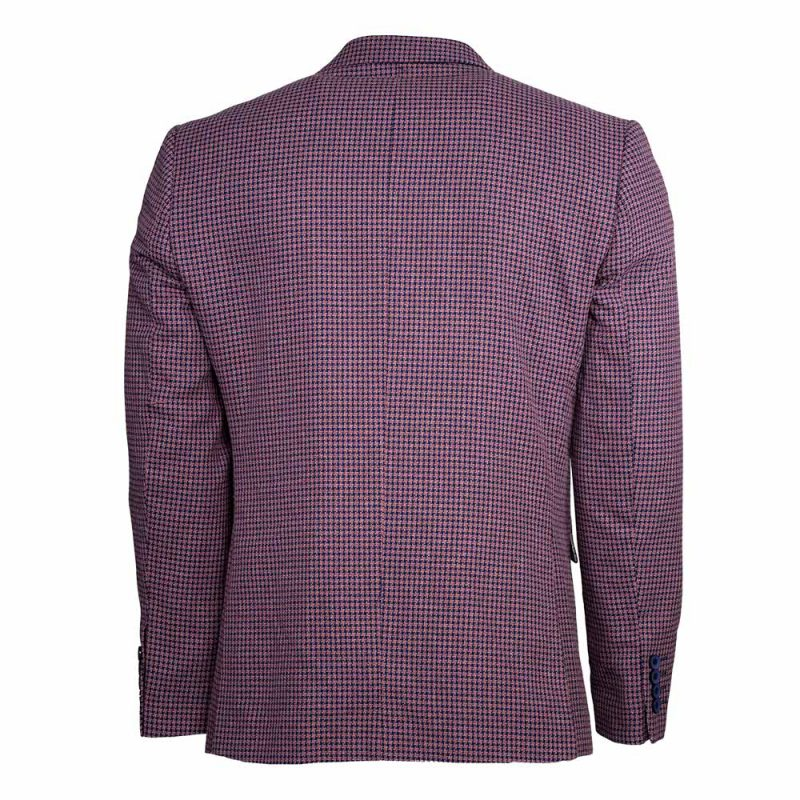 Light purple blazer with blue houndstooth pattern back view