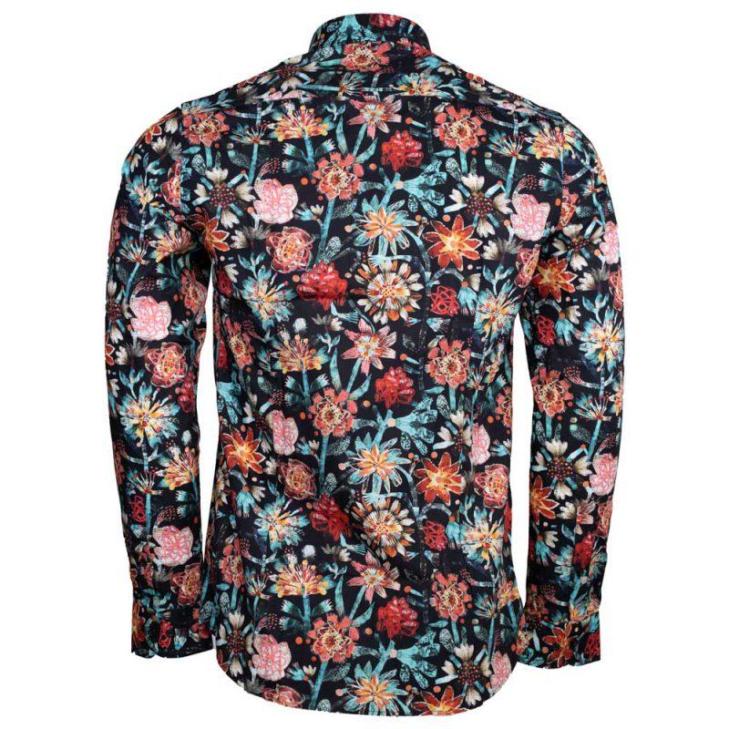 Blue multi color dress shirt with flower design back view