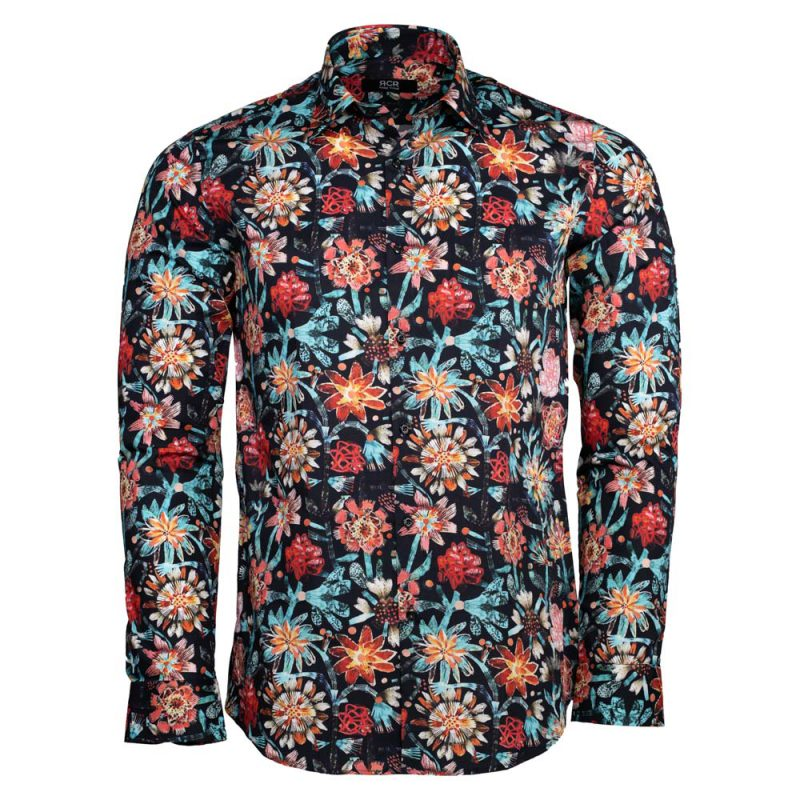Blue multi color dress shirt with flower design