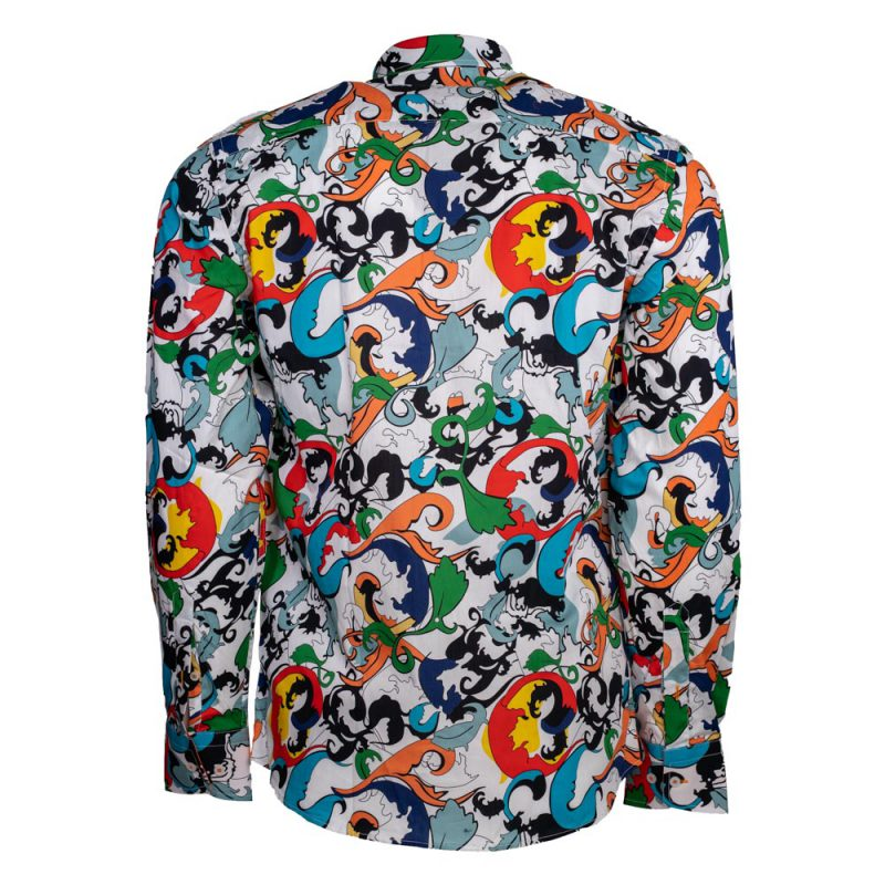 Multi color dress shirt with patterns back view