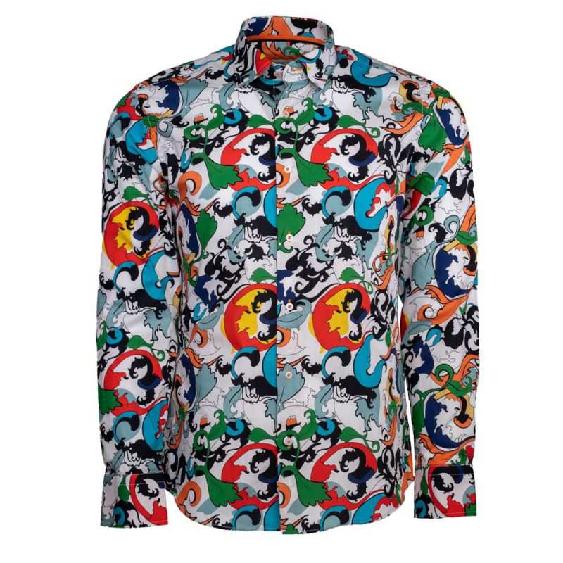 Multi color dress shirt with patterns