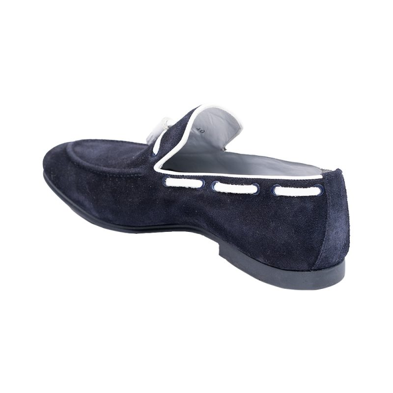 Navy blue and white suede slip on with tassels