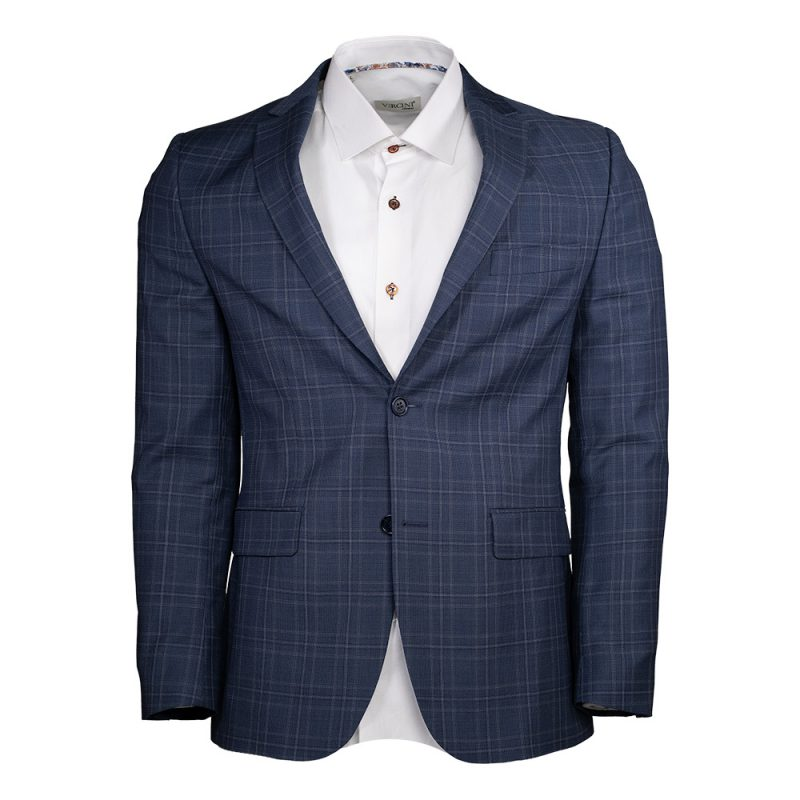 Navy blue blazer window pane pattern