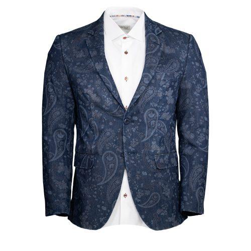 Navy blue blazer with a paisley pattern