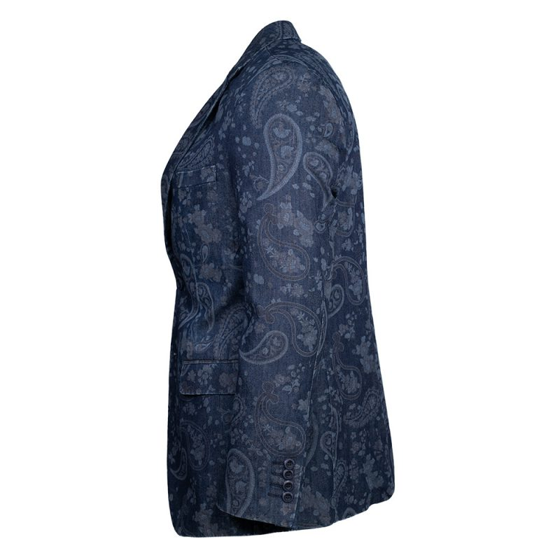 Navy blue blazer with a paisley pattern side view