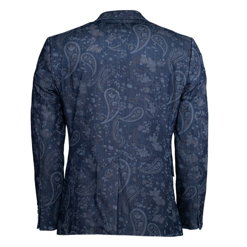 Navy blue blazer with a paisley pattern back view