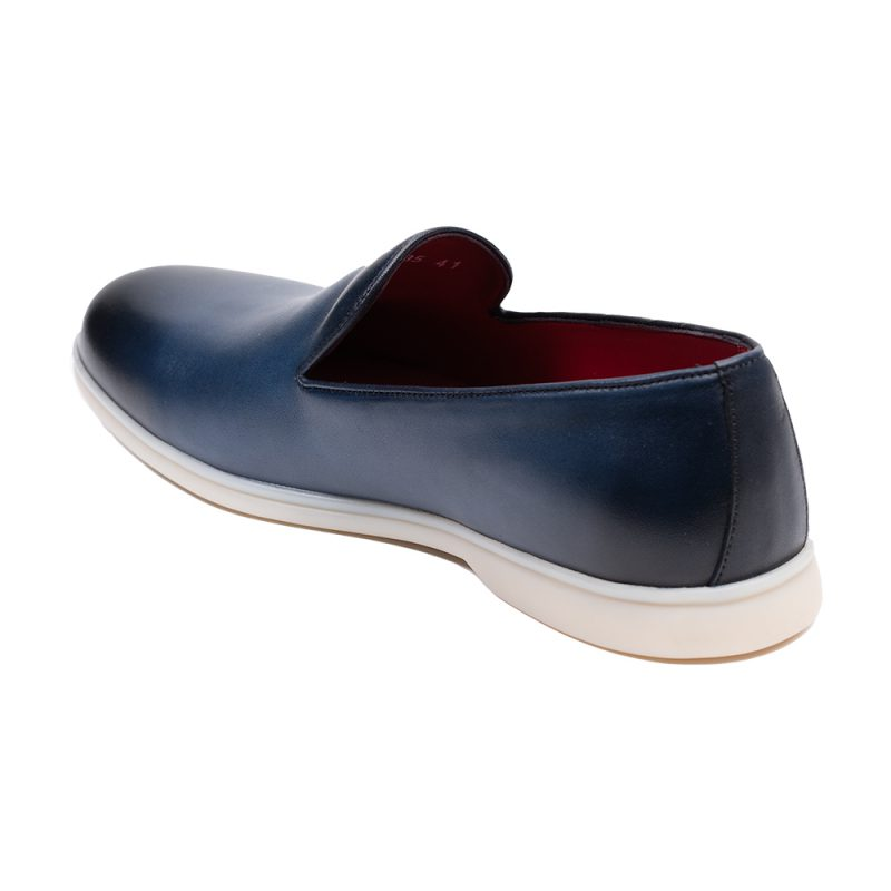 Navy blue casual leather loafer