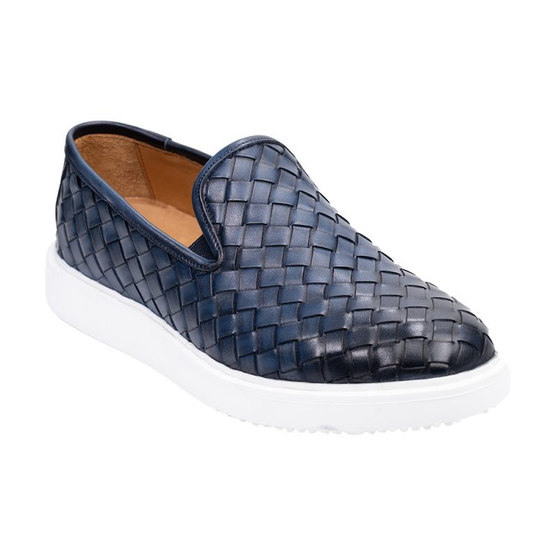 Navy blue casual leather slip on with a white sole