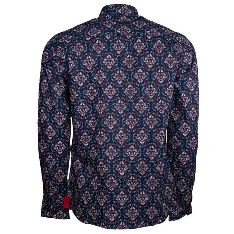 Navy blue dress shirt with a white and red design back view