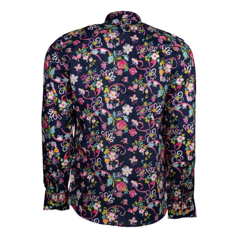 Navy blue floral dress shirt back view