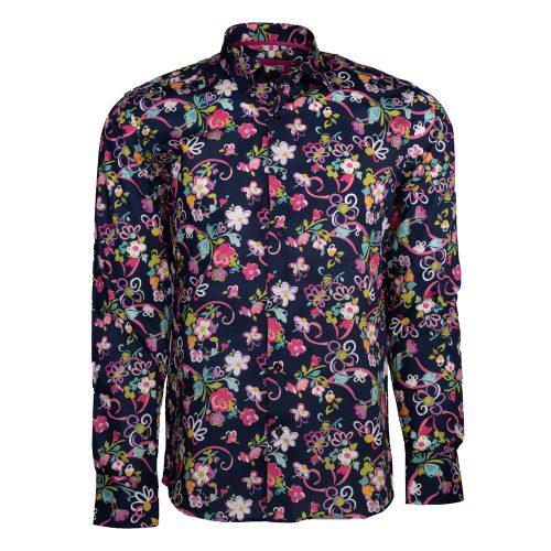 Navy blue floral dress shirt